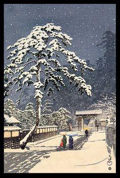 """Ikegami Honmon-Ji"" (1931) woodblock print by Hasui Kawase by Plum leaves, via Flickr"