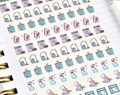 Chore Stickers, Mini Stickers, Cleaning Stickers, Laundry Stickers, Planner Stickers, Bullet Journal Stickers, Sheet of 85 Stickers by notesandclips on Etsy https://www.etsy.com/listing/507891013/chore-stickers-mini-stickers-cleaning