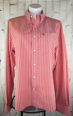 9694b74a4879 Abercrombie Fitch mens Dress Shirt XXL Button Down Long Sleeve Red Stripe  Muscle #AbercrombieFitch #
