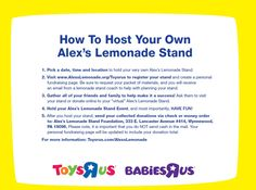 Learn how you can host your own Lemonade Stand to support @Alex Jones Jones's Lemonade Stand Foundation!