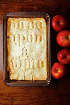 """This apple pie by Bryton Taylor is inspired by the story of Snow White and the Seven Dwarves. Cardboard letters are pressed into the pie dough to inscribe the message """"once upon a time. Snow White Apple, Red Apple, Just Desserts, Apple Pie, Apple Cobbler, Sweet Tooth, Sweet Treats, Food And Drink, Yummy Food"""