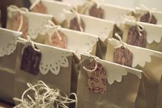 gift wrapping...would make cute party goodie bags,or thank you bags from a wedding...cute..could put theme or color themes too