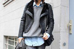 leather biker jacket + grey knit + chambray shirt