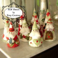 PDF felt sewing PATTERN printable pattern Santa Christmas ornaments felt pattern instant download great gift or christmas decor by roxycreations on Etsy https://www.etsy.com/listing/165495242/pdf-felt-sewing-pattern-printable