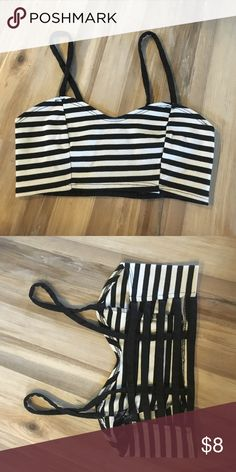 Black and white striped caged bralette Forever 21. Almost identical to brandy. Size small. Worn a few times Forever 21 Intimates & Sleepwear