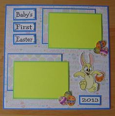 "1 Pre Made 12 x 12 Baby's First Easter"" Scrapbook Page Holiday 
