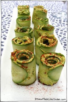 Cucumber Avocado Rolls. A really easy, pretty, appetizer that is perfect for vegans, vegetarians, gluten free, and healthy eating. These are like little mouth explosions!