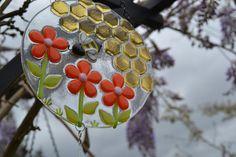 Bumble Bee Windchime, Fused Glass, Orange Flowers, Garden Art, Garden Decoration by PurpleSlugGlassArt on Etsy