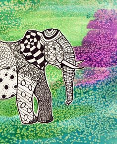 Zentangle elephant & watercolor background