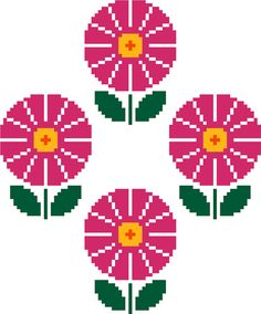 Modern cross stitch pattern of simple bright pink daisies. Available from Cross Stitch the Line on Etsy.