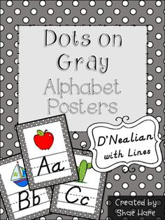 """Looking to update your classroom references? Your room will look totally cute with this gray and polka dots themed set of alphabet posters. DNealian styled font with handwriting lines. Each poster prints nicely on standard 8.5 x 11"""" paper. 64 Alphabet Cards to choose from!A- anchor, alligator, appleB- bucket, bee, boatC- cow, cactus, cloudD- dog, dinosaur, dragonflyE- elephant, easelF- fish, flip flops, frogG- goat, globe, gorillaH- hippopotamus, house, hotdogI- igloo, ice creamJ…"""