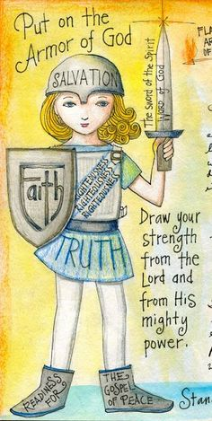 Love her artwork that isn't consumed with male images.  This one in particular says that God's Word is for me, too!  peggy aplSEEDS: The Armor of God.