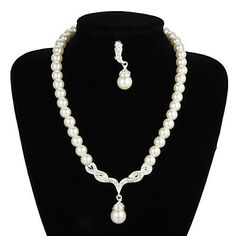 Graceful Pearl Wedding Bridal Jewelry Set with Alloy Connector – USD $ 34.99