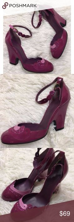 Marc Jacobs Plum Patent Leather Wedge Heels 38.5 Marc Jacobs Plum Retro Platform Wedge Patent Leather Mary Jane Heels Shoes 38.5 Size 38.5  Heel Height is 3.25 Marc Jacobs Shoes Wedges