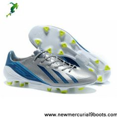 Latest Listing Adidas adizero F50 Metallic TRX FG Leather in Silver Blue White Football Boots On Sale