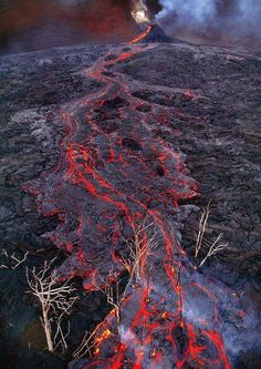 The lava flow in Hawaii Volcanoes National Park.