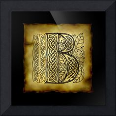 """""""Celtic Letter B"""" by Kristen Fox, New York // An original, hand-drawn letter B from the full alphabet done in Celtic style, with intricate knotwork, spirals, and leaves, on a faux parchment background on a black field. A wonderful monogram print for first name or surname initials. // Imagekind.com -- Buy stunning fine art prints, framed prints and canvas prints directly from independent working artists and photographers."""