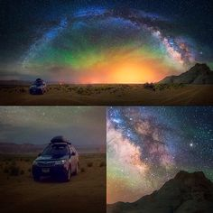 """""""Starlight Adventure"""" This is a galactic panorama taken in the middle of a desert in Arizona. It was some of the most stunningly clear and vivid night skies I have ever seen. That night we camped outside of page AZ on our way to Monument Valley and then over to Arches National Park. The green hue in the sky is called airglow which is not visible to the eye, but can be picked up with high ISO sensitivity cameras. This was one of the last stops on @tobyharriman and my storm-chasing trip. We…"""