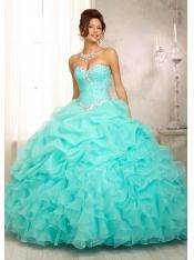 2015 Cute Sweetheart Neck Crystal Beaded Bodice on a Ruffled Organza Skirt Mint Puffy Quinceanera 15 Dress 88083