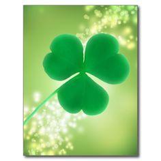 Irish Clover Green Sparkles Saint Patrick's Day Post Cards