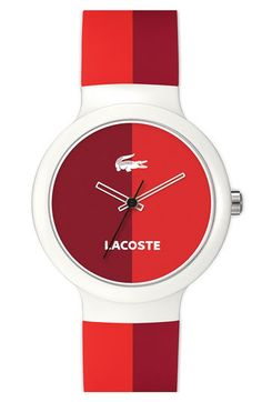 Lacoste 'Goa' Stripe Silicone Strap Watch available at #Nordstrom