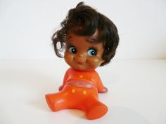 Vintage sitting cute rubber doll toy made by Iwai by FlyingSpoon