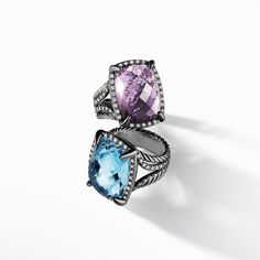 Chatelaine® rings with gemstones and gray diamonds.