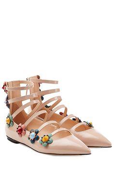 FENDI - Embellished Patent Leather Ballerinas - 790€
