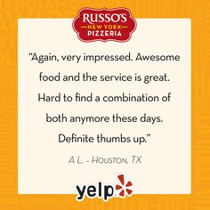 Thank you for sharing your Russo's experience with us, A.L. We're glad you enjoyed your visit! #RussosReview