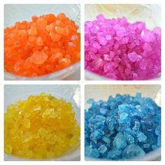 colored rock salt sensory play: rock salt, watercolor and glue Fun sensory activity!