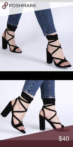 Black suede lace up heels Public Desire Julia Heels in Black Faux Suede. Never worn!! Public Desire Shoes Heels