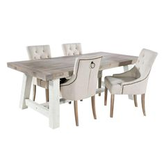 Salcombe Driftwood Dining Table and Four Elegant Upholstered Chairs – Cowshed Interiors
