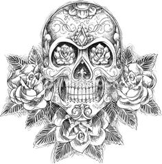 sugar skull tatoo hard adult difficult coloring pages printable and coloring book to print for free. Find more coloring pages online for kids and adults of sugar skull tatoo hard adult difficult coloring pages to print. Mexican Skull Tattoos, Skull Rose Tattoos, Mexican Skulls, New Tattoos, Body Art Tattoos, Tattoo Drawings, Sleeve Tattoos, Sketch Tattoo, Art Drawings