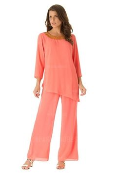 Pant Suits Scoop Ankle-length Chiffon Mother of the Bride Dress