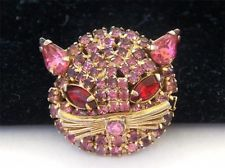 VINTAGE PINK RED RHINESTONE KITTY CAT FACE FIGURAL BROOCH PIN Ebay Auction, Pink Cat, Cat Jewelry, Red Rhinestone, Cat Face, Selling On Ebay, Vintage Pink, Brooch Pin, Gems
