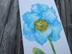 Meconopsis hand-painted watercolor bookmark (original painting) by RINGOhandpainter on Etsy - Still life flower paintings, floral artwork, plant illustration, beautiful blue flower, it's a small painting, can be framed as deco on desk or wall. Facebook: https://www.facebook.com/ringo.handpainter