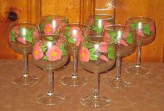 VINTAGE FRANCISCAN DESERT ROSE GLASS GOBLETS