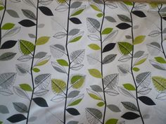 """Lime Green Fabric Green Grey Black White Funky Floral UK Cotton Fabric per Metre (39"""" x 56"""") PLENTY in STOCK"""
