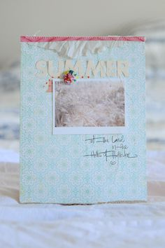 beautiful little summer album with tutorial about cut out titles and glitter - by Rahel Menig at Crate Paper Blog