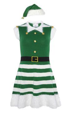 Grünes, gestricktes Elfenkleid