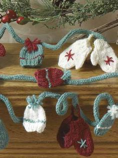 Special Occasion Knitting - Christmas Knitting Patterns - Mini-Mitts & Hat Garland  must start!