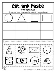Cut and Paste Shapes Worksheets | Woo! Jr. Kids Activities Shape Activities Kindergarten, Shape Worksheets For Preschool, Cut And Paste Worksheets, Shapes Worksheets, Preschool Printables, Kindergarten Worksheets, Activities For Kids, Sorting Activities, Shape Sort