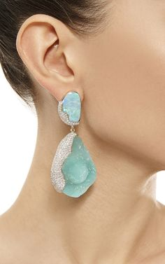 One Of A Kind 18K Gold With Hemimorphite, Opal, And Diamond Petra Earrings by Kara Ross for Preorder on Moda Operandi