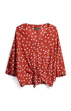 Terracotta Polka Dot Shirt Polka Dot Tie, Polka Dot Blouse, Tie Front Blouse, Front Tie Top, Safari, Frill Tops, Neue Outfits, Stitch Fix Outfits, Chemises