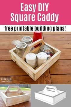 This DIY square caddy is the perfect beginner woodworking project. Use the crate organizer as a BBQ utensil holder, desk organizer, table centerpiece, craft supply storage - the uses are endless. Kids Woodworking Projects, Woodworking Patterns, Woodworking Techniques, Woodworking Projects Plans, Wood Projects, Woodworking Furniture, Woodworking Nightstand, Woodworking Articles, Carpentry Projects