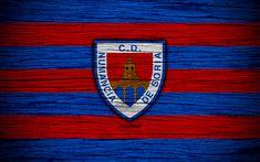 Download wallpapers Numancia FC, 4k, Segunda Division, soccer, football club, Spain, CD Numancia, logo, LaLiga2, wooden texture, FC Numancia