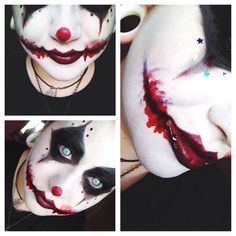 Scary clown makeup. Perfect for our family costumes this year! Are you looking for scary horrifying Halloween makeup ideas for women to look the best at the Halloween party? See our photo collage to pick the one that fits the Halloween costume.