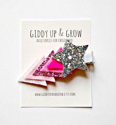 Felt Hair Clip Glitter Hair Clip Ombre Shooting by giddyupandgrow