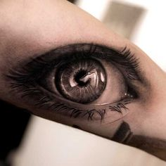 Beautiful Black and White Eye Tattoo