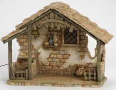 Inch Lighted Stable Only by Fontanini Nativity Stable, Christmas Nativity Set, Nativity Crafts, Christmas Villages, Christmas Crafts, Christmas Decorations, Christmas Holidays, Fontanini Nativity, Ceramic Houses
